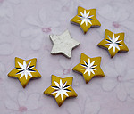 18 pcs. diamond cut aluminum starburst star cabochons 8mm - f3854
