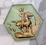 1 pc. glass reverse painted intaglio hexagon pony express cowboy cabochon 24mm - f4030