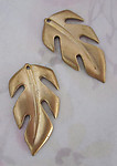 4 pcs. raw brass leaf stampings charms 33x18mm - f4071