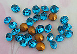 90 pcs. fire polished glass turquoise blue foiled rhinestones 5mm - f4086