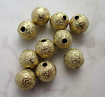 30 pcs. gold tone textured round metal beads 6mm f4536