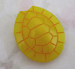 glass yellow turtle shell cabochon w orange painted intaglio pattern 26x21mm - f4549
