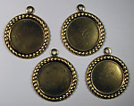 12 pcs. Raw brass 14mm flat back cabochon settings - f1651