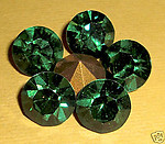 6 pcs. Swarovski green turmaline machine cut crystal rhinestones - f214