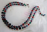 2 strand multi colored gem tone glass bead necklace - j5000