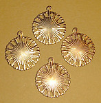 12 pcs. raw brass circle stamping charms w/ starburst - f1367