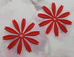 5 pcs. red rubber flower beads  37mm - f2276
