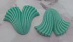 6 pcs. green scalloped plastic flat back cabochons 30x25mm - f2286