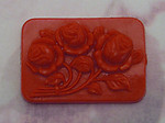 4 pcs. red plastic floral flower roses cameo flat back cabochons 33x23mm - f2287