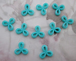 30 pcs. turquoise blue 3 petal flower bead drop charms 11mm - r50