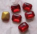 18 pcs. glass dark ruby red foiled octagon rhinestones 10x8mm - f3017