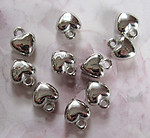 10 pcs. silver tone plated resin heart charms 10x10x5mm - f3044
