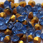 100 pcs. glass fire polished light sapphire blue rhinestones ss19 - f3062