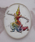 glass reverse painted intaglio Siam Thailand deity cabochon 25x18mm - f2348