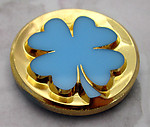 glass four leaf clover blue cameo relief cabochon w gold plate 27mm - f2356