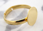 3 pcs. gold tone adjustable ring blanks w 10mm pad for gluing - f4336