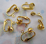 18 pcs. (9 pair) gold tone clip on earring findings w loop & 6mm ball - f4440
