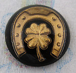 glass reverse painted intaglio 4 leaf clover horseshoe good luck cabochon 18mm - f4460