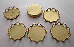 18 pcs. raw brass 11mm lace edge flat back cabochon settings - f4522