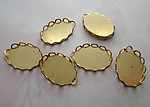 18 pcs. raw brass 14x10mm lace edge flat back cabochon settings - f4523