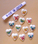 12 pcs. butterfly decal heart cabochons 11x10mm - f1151