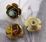 6 pcs. vintage raw brass rose flower beads 11mm - f4355