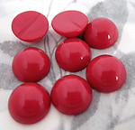 24 pcs. red plastic flat back cabochons 13mm - f4364