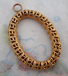 raw brass filigree tube oval charm 37x27mm - f4421