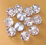 36 pcs. glass Preciosa TTC table tin cut clear chanson rhinestones ss34 - f1253