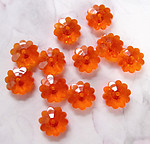 36 pcs. orange plastic flower beads 10x4mm - r76