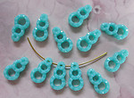 36 pcs. 3 ring turquoise blue plastic charms bead drops 13x7mm - r80