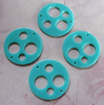 12 pcs. turquoise blue plastic connector charms 20mm - r81