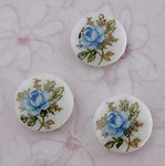 9 pcs. porcelain print flower floral blue rose cabochons 8mm - f3372