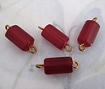 12 pcs. glass red bead connector charms 12x7mm - f4136