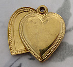 3 pcs. raw brass two sided heart charms w riveted hinge 25x20mm - f4175
