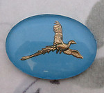 reverse painted intaglio pheasant bird in flight cabochon 25x18mm - f4196