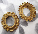 4 pcs. raw brass oval raised frame stampings 24x22mm - f4199