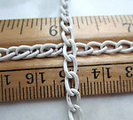 3 feet white cold enamel steel curb chain 4mm wide - c24