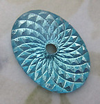 2 pcs. glass aqua blue reflector spirograph foiled cabochons w 2mm sew on hole or setting 18x13mm - d01