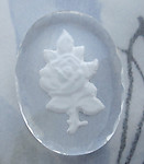 glass reverse painted intaglio white rose flower cabochon 25x18mm - d02