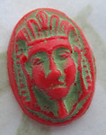 4 pcs. Czech Goblonz Neiger Bros painted cameo Egyptian Revival pharaoh red w green cabochons 16x11mm - d07