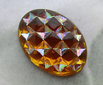 4 pcs. glass topaz AB geometric oval foiled flat back cabochons 14.5x10.5mm - d115