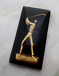 glass reverse painted intaglio golfer cabochon 25x13mm - d121