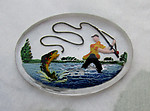 glass reverse painted intaglio fly fisherman in waders w big fish cabochon 25x18mm - d125