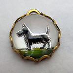 glass reverse painted intaglio scotty dog charm in raw brass lace edge setting 13mm - d157