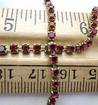 MCC machine cut crystal red prong set in raw brass rhinestone chain 2.5mm wide by the foot - d173
