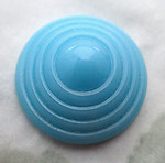 2 pcs. glass turquoise blue concentric circle flat back cabochons 17mm - d174
