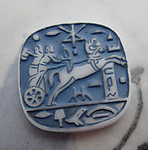 glass painted intaglio Egyptian revival chariot flat back cabochon 20mm - d202