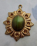 2 pcs. glass 2 tone green brown cabochon in raw brass pendant setting w blank rhinestone settings 22x19mm - d209