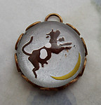 glass reverse painted intaglio cow jumped over the moon charm in raw brass setting 13mm - d225
